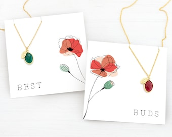 Ready to Gift BFF Necklaces, Birthstone and Initial Necklace Set of 2, Personalized Stamped Necklace, Matching Best Friend Gifts for Two