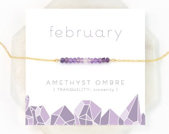 Ombre Amethyst Bar Necklace, February Birthday Gift, Dainty Everyday Necklace, Gold Filled, Rose Gold Filled, Sterling Silver, Gift for Her