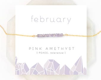 Dainty Pink Amethyst Necklace, February Birthstone Necklace, Light Amethyst Gemstone, Gem Bar Necklace, Everyday Necklace, NK-DB