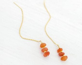 Orange Carnelian Threader Earrings, Raw Gemstone Jewelry, Carnelian Drop Earrings, Chain Threader Earrings, Boho Chic, Chain Earrings, TH-RS