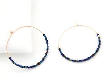 Modern Hoops, Gemstone Dangle Earrings, Bead Earrings Hoop, Festival Earrings, Sparkly Earrings, Rose Gold Hoop, BFF Gifts, HP-DB
