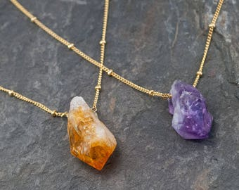 Rough Cut Gemstone Necklace, Raw Crystal Necklace, Amethyst Necklace Gold, Raw Citrine Necklace, Natural Gemstones, Birthstone Gift, NK-ST