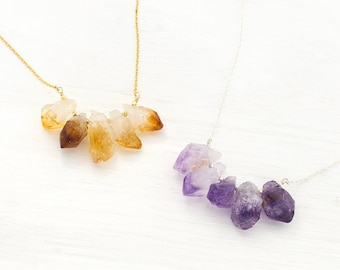 Crystal Birthstone Necklaces, Statement Necklace, Gold Citrine Necklace, Raw Amethyst, Dainty Gold and Silver Chains, Gemstone Bar, Birthday