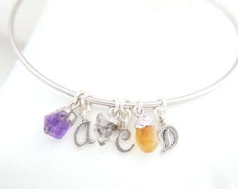 Made for Mom, Expandable Charm Bracelet, Sterling Silver Bangle, Personalized Birthstone and Initials, Mothers Day Gift, Natural Gemstones