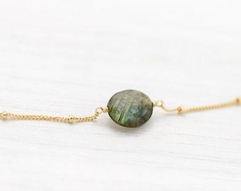 Celestial Skies Labradorite Necklace, Aurora Borealis Stone, Flashy Labradorite Gemstone, Delicate Everyday Choker, Healing Crystal Jewelry