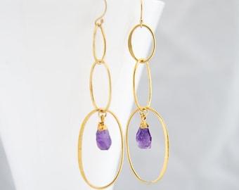 Crystal Drop Earrings, Dangle Hoop Earrings, Statement Earrings Gold, Stone Hoop Dangle, Oval Hoops, Wedding Mom Gift, Amethyst Birthstone