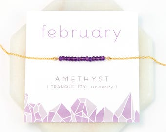 February Birthstone Necklace, Amethyst Necklace Gold, Gift for Best Friend, Inspirational Gift, Yoga Jewelry, Healing Stone Gift, NK-DB