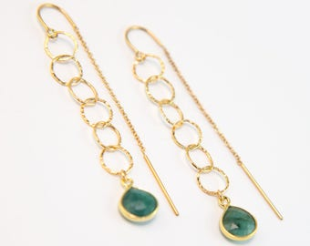 Raw Emerald Circle Threader Earrings, Gold Circle Drop Earrings, Minimalist Earrings, Gemstone Dangle Earrings, Handmade, Gift for Friend