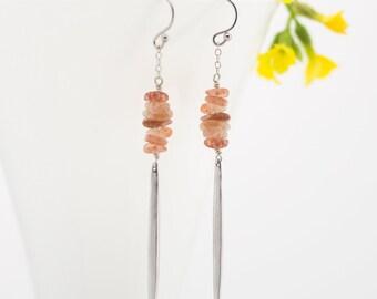 Peach Sunstone Earrings, Festival Jewelry, Edgy Gemstone Statement Earrings, Geometric Spike Jewelry, Modern Dangle Earrings, Gift for Her