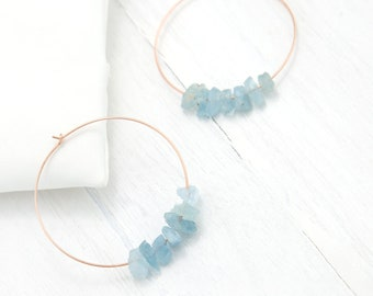 Raw Aquamarine Hoops, Rose Gold Hoop Earrings, March Birthday Gift, Hoop Earrings With Stones, Charm Hoops, Healing Crystal Jewelry, Boho