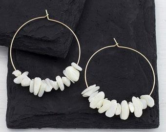 Pearl Hoops, 14k Gold Filled Hoop Earrings, Mother of Pearl, Bridesmaid Earrings, Boho Pearl Earrings Dangle, Statement Earrings, HP-RC