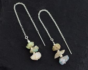 Raw Opal Threader Earrings, Opal Silver Earrings, October Birthstone, Bohemian Jewelry, Rough Cut Gemstone, Thread Through Earrings, TH-RS