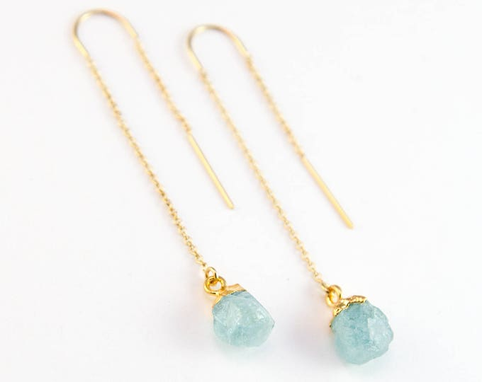 Featured listing image: Raw Aquamarine Earring Threaders, Aquamarine Earrings Wedding, March Birthstone Earring, Stone Drop, Bridesmaid Gift, Birthday Gift, TH-N