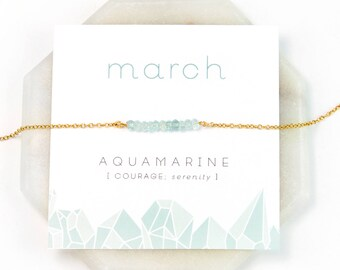 March Birthstone Necklace - Inspirational Aquamarine Crystal Bar Necklace, Healing Gemstone Gift, Dainty Necklace, Birthday Present, NK-DB