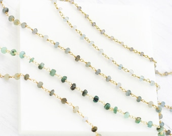 Delicate Gemstone Choker, Labradorite Beaded Necklace, Christmas Gift for Teen, Stone Wire Wrapped Satellite Chain Jewelry Gift for Daughter