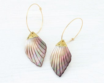 Large Hoops, Abalone Shell Hoops, Dainty Gold Filled Hoops, Dangle Sea Shell Summer Earrings, Nature Inspired Ocean Jewelry, Gift for Her
