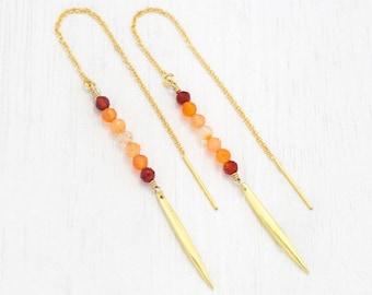 Ombre Carnelian Bar Drop Earrings, Dainty Gold Threaders, Orange Statement Earrings, Healing Gemstone Gift, Thread Through Chain, Handmade