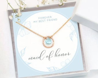 Maid of Honor Proposal Necklace Card, Dainty Rose Gold Chain, Crystal Birthstone Drop, Something Blue Bridal Jewelry, Bridesmaid Thank You