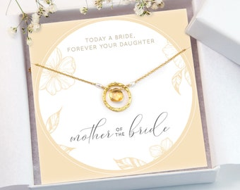 Mother of the Bride Gift Necklace, Gift From Daughter, Custom Bridal Card, Gemstone Necklace, Custom Wedding Jewelry, Gift For Her, NK-HC