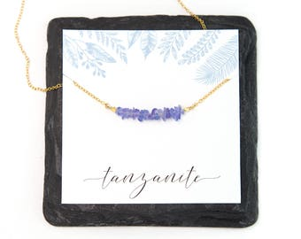 Tanzanite Healing Crystal Necklace, Inspirational Necklace Gift, Raw Crystal Jewelry, Gift for Friend, 14k Gold Filled, Necklace Card, NK-RB