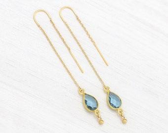 Dainty Blue Topaz Threaders, Gemstone Threader Earrings, December Birthstone Gift, 14k Gold Filled Ear Threads, Front Back Something Blue