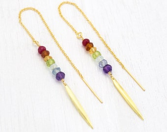 Rainbow Earrings, Ombre Chakra Threaders, Yogi Jewelry Gift, Sister BFF Gold Earrings, Statement Thread Through, Pride Earrings, Dainty