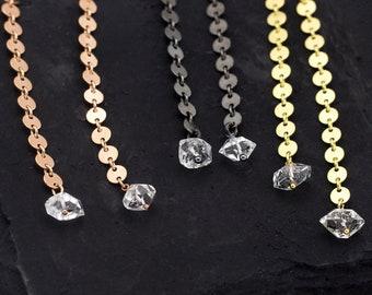 Raw Herkimer Diamond Threaders, Chain Earrings, Statement Earrings, Circle Drop Earrings, Boho Thread Through, Long Chain Earrings
