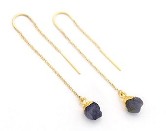 Raw Iolite Earrings, Water Sapphire Threaders, Stone Thread Through Earrings, Raw Crystal Threaders, Natural Gemstone Earrings, TH-N
