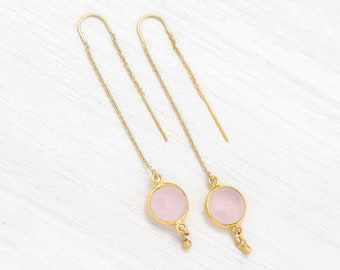 Blush Pink Earrings, Bridesmaid Threaders, Rose Quartz, Dainty Dangle and Drop, Gold Filled Long Chain Earrings, Faceted Gemstone Bezeled
