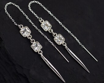 Geometric Threader Earrings, Silver Threader Earrings, Edgy CZ Earrings, Modern Bride, Multi-Way Earrings, Spike Jewelry, Gift for Her