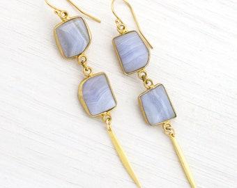 Blue Lace Agate Spike Earrings, Geometric Jewelry, Modern Gemstone Earring, Something Blue, Bridal Earrings, Bridesmaid Gifts, Blue Earrings