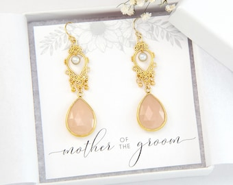 Mother of the Groom Gift, Blush Pink and Gold Earrings, Gold Freshwater Pearl, Elegant Earrings, Bridal Gift for Mom, Gift for Mother in Law