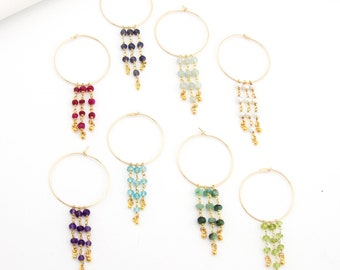 Beaded Gemstone Charm Hoops, Summer Statement Earrings, Natural Gemstone Jewelry, Gold Hoops, Raw Crystals, Fringe Earrings, Gifts for Her