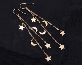 Shooting Star Cascade Earrings, Rose Gold Celestial Jewelry, Moon and Star Earrings, Silver Crescent Moon, Constellation Dangle Gift for Her