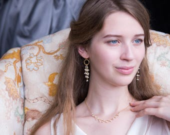 Pearl Tassel Earrings, Beaded Tassel Earrings, Bridal Jewelry, Chandelier Earrings, Hammered Hoop, Bridesmaid Gift, Dangle and Drop Earrings