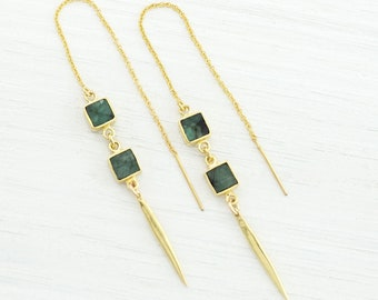Emerald Chain Drop Earrings, May Birthstone Gift, Green Emerald Dangle Gold, Geometric Gemstone Threaders, Statement Earrings, Boho, TH-SQ