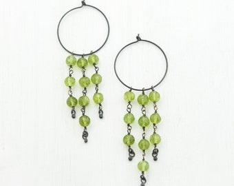 Peridot Dangle Earrings, August Birthstone, Hoop Earrings, Statement Jewelry, Summer Bride, Black and Green, Gemstone Chandelier Earrings