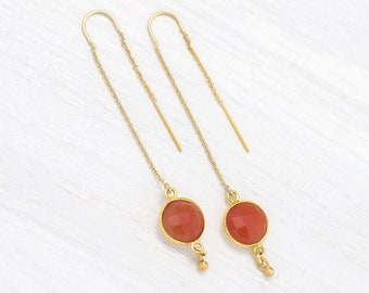 Burnt Orange Earrings, Carnelian Threaders Gold, Terra Cotta, Dainty Chain Dangle, Stone Drop, Trendy Minimalist Earrings, Gift for Sisters