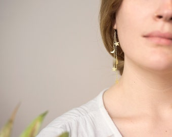Gold Celestial Earrings, Crescent Moon and Stars, Long Chain Earrings, Charm Earrings, Star Dangle, Festival Boho Jewelry, Silver, Rose Gold