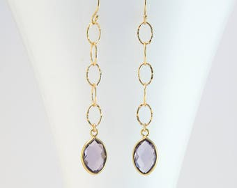 Alexandrite Quartz Drop Earrings, Gold Birthstone Earrings Dangle, Birthstone Jewelry, Personalized Gift for Her, Light Amethyst, Hammered