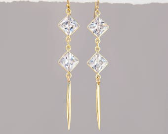 Elegant Crystal Earrings, Clear Gold Earrings, Diamond Drop Earrings, Bar Drop Earrings Gold, Spike Earrings, Modern Earrings, BFF Gifts