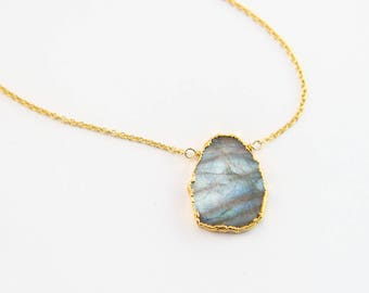 Labradorite Necklace, Bridesmaid Jewelry, Gemstone Slice Pendant Necklace, Layered Necklaces, Boho Jewelry, NK-VS