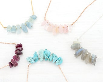 Raw Crystal Necklaces, Gemstone Bib Necklace, Statement Necklace, Yogi Gift, Boho Stone Necklace, Healing Stone Jewelry, Rough Cut Stones