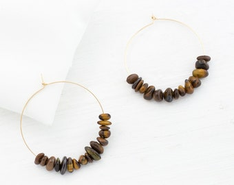 Tiger Eye Hoop Earrings, Fall Jewelry, Back to School Earrings, Gift for Her, Statement Hoops, Gemstone Earrings, Everyday Earrings, HP-RC