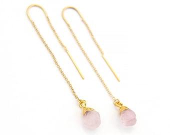 Rose Quartz Earrings, Raw Crystal Drop Earrings, Rose Quartz Healing Stone, Gem Threader Earrings, Bridesmaid Gift Ideas, Raw Quartz, TH-N