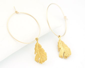 Gold Feather Hoops, Charm Hoop Earrings, Boho Feather Earrings, Gift for Sister, Dainty Feather Earrings, Dangle Earrings, HP-CM