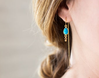 Tiny Turquoise Drop Earrings, Gold Filled Threaders, Blue Boho Dangle, Festival Jewelry, December Birthstone, Lightweight Gold Framed Stone