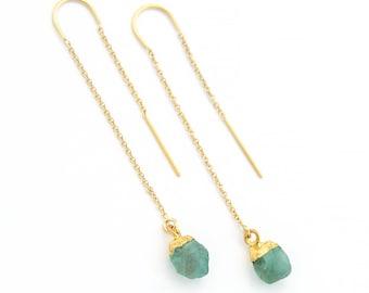 Raw Apatite Earrings, Blue Apatite Dangle Drop Earrings, Raw Stone Threaders, Simple Stone Earrings, Rough Cut Stone, Delicate Chain, TH-N
