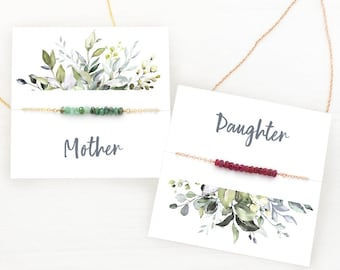 Mother Daughter Necklace Set of 2 Matching Necklaces, Christmas Gift Birthstone Necklaces, Ready to gift,  Carded necklace gift