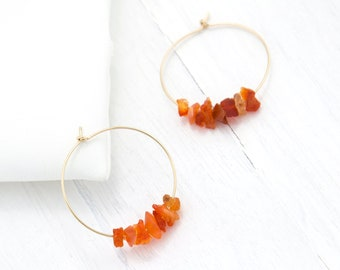 Beaded Statement Hoops, Fire Opal Earrings, Rough Cut Crystal Hoop Earrings, Gift for Niece, Healing Stone Earring, Yoga Gift, Natural Stone